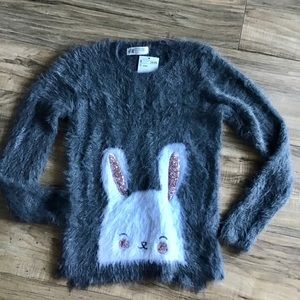 H&M gray fuzzy sweater with bunny print